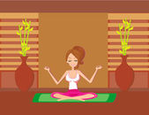 Yoga girl in lotus position  vector illustration
