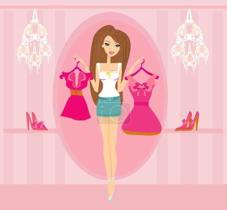 Illustration pour Magnifiques femmes Shopping - image libre de droit