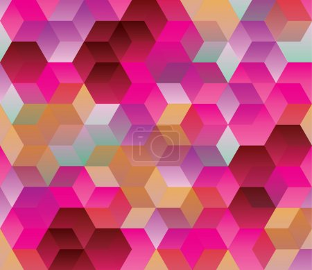 Illustration for Hexagonal pattern, Abstract background, Cube, Multicolor, rose tone, Colorful, warm tone - Royalty Free Image