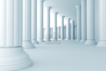 Photo for Illustration of series of pillars in corridor - Royalty Free Image
