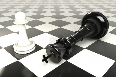 Photo for 3d image of king and pawn on chess board - Royalty Free Image