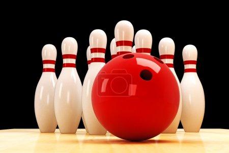 Photo pour Illustration de la quille et boule de bowling sur plancher en bois - image libre de droit