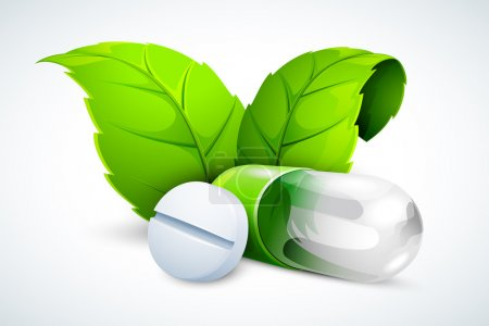 Illustration for Vector illustration of herbal tablet and capsule with green leaf - Royalty Free Image