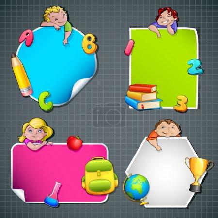 Photo pour Illustration vectorielle de la collection de gabarits de retour à l'école avec enfants et objets - image libre de droit