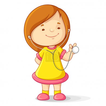 Illustration pour Illustration vectorielle de bébé fille avec stéthoscope - image libre de droit