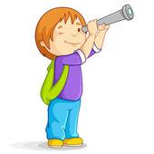 Vector illustration of boy watching through telescope