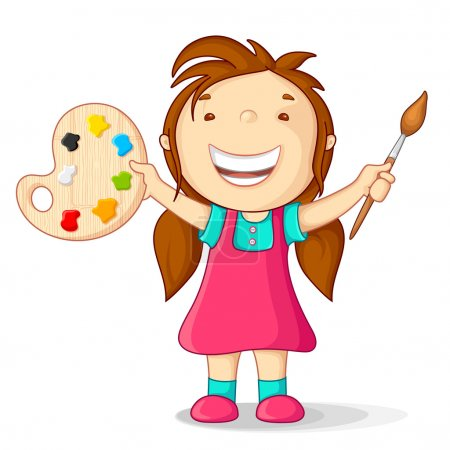 Illustration for Vector illustration of kid with color pallet and paint brush - Royalty Free Image