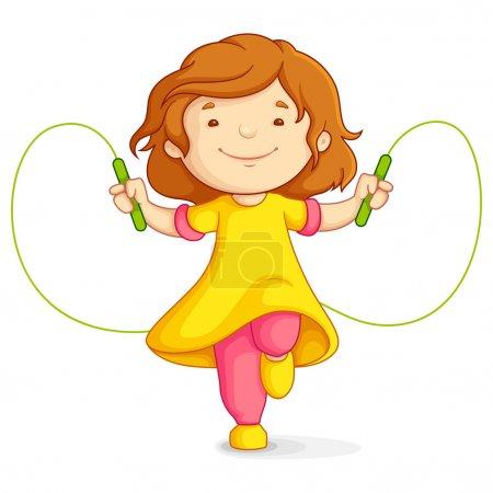 Illustration pour Illustration vectorielle de bébé fille faisant sauter sur fond blanc - image libre de droit