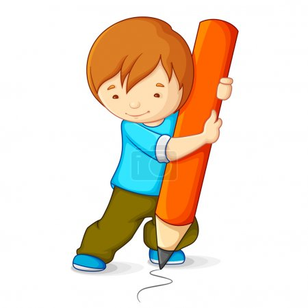 Illustration for Vector illustration of kid drawing with pencil - Royalty Free Image