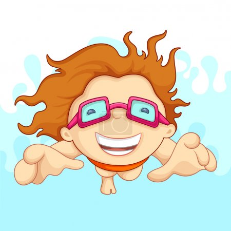 Illustration for Vecto illustartion of boy doing swimming with safety goggles - Royalty Free Image