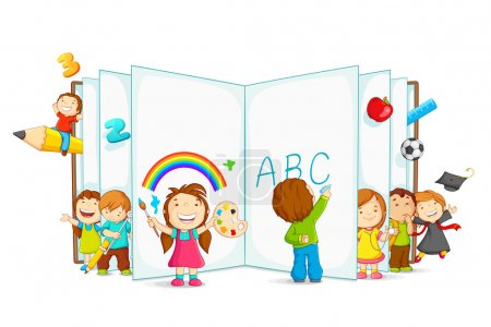 Illustration for Vector illustration of kid reading open book sitting on floor - Royalty Free Image