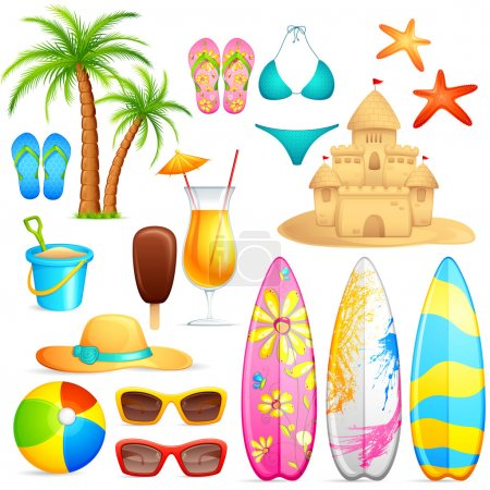 Illustration for Vector illustration of sea beach object against white background - Royalty Free Image