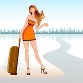 Vector illustration of lady with travel bag seeking lift