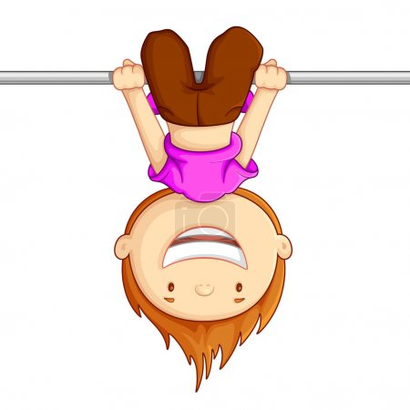 Illustration for Vector illustration of kid hanging against white background - Royalty Free Image