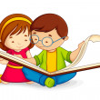 Vector illustration of kid reading open book sitti...