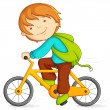Editable vector illustration of boy doing cycling...