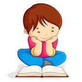 Boy reading Open Book