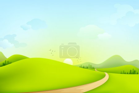 Illustration for Vector illustration of green landscape of sunny morning - Royalty Free Image