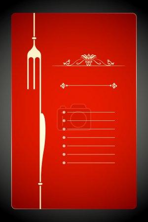 Illustration pour Illustration vectorielle de fourchette et couteau dans le modèle de menu - image libre de droit