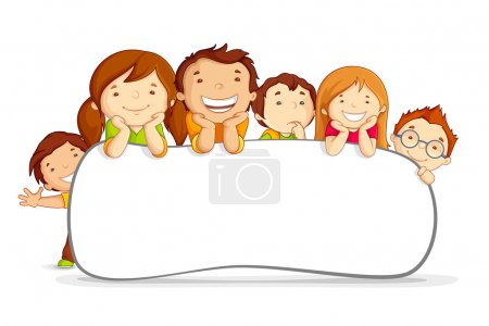 Vector illustration of kids standing behind placar...