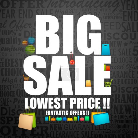 Illustration for Vector illustration of big sale poster with different element - Royalty Free Image