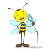 Vector illustration of bee singing in mike