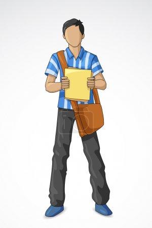 Illustration pour Illustration vectorielle de jeune étudiant masculin avec sac - image libre de droit