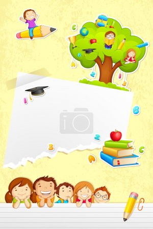 Illustration for Vector illustration of back to school template with kids - Royalty Free Image