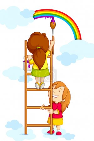 Illustration for Vector illustration of kids painting rainbow in clouds - Royalty Free Image