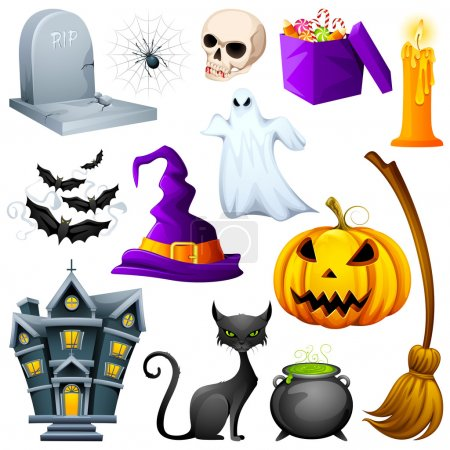 Illustration for Vector illustration of collection of Halloween icon set - Royalty Free Image