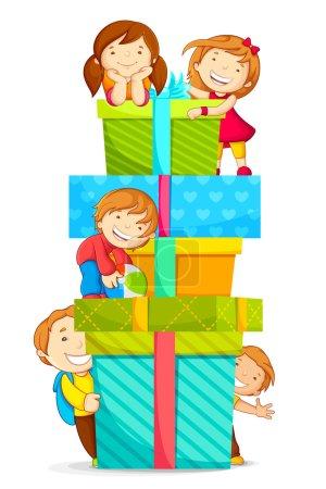 Photo pour Illustration vectorielle des enfants grimpant pile de boîtes-cadeaux - image libre de droit