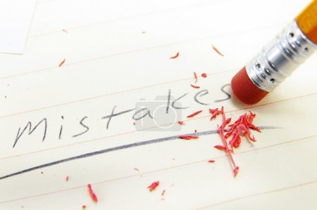 Photo for Closeup of a pecil eraser correcting a mistake - Royalty Free Image