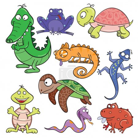 Hand-drawn cute cartoon reptiles and amphibians. V...