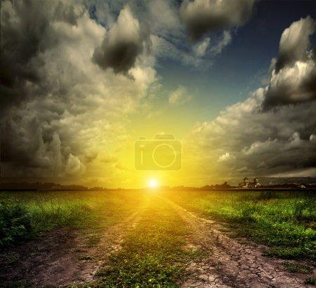 Photo pour Paysage estival avec herbe verte, route et nuages - image libre de droit
