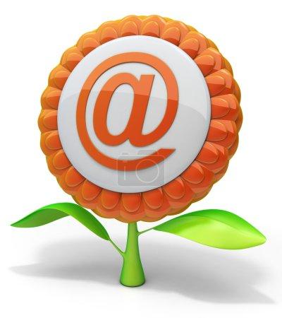 Photo pour Icône e-mail fleur. Illustration 3D abstraite . - image libre de droit