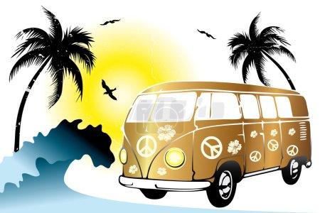 Retro van on the beach