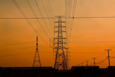 Photo for High voltage towers. - Royalty Free Image