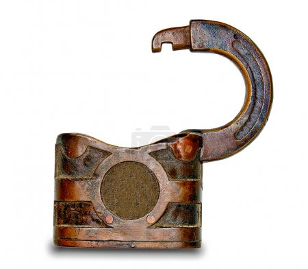 The Old rusted padlock isolated on white background