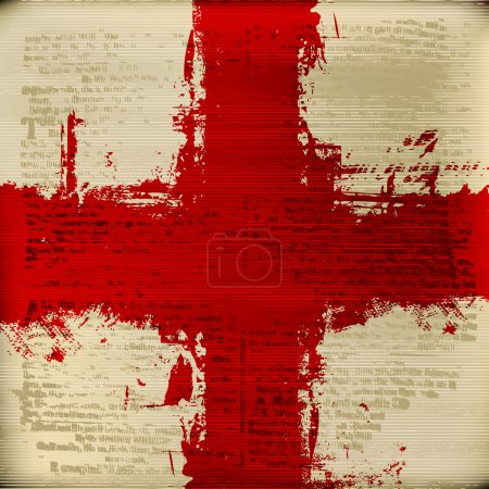 Red Cross over a grunged antique texture background