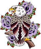 Eagle rose tattoo