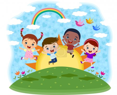 Illustration for Multicultural children jumping on the hill - Royalty Free Image