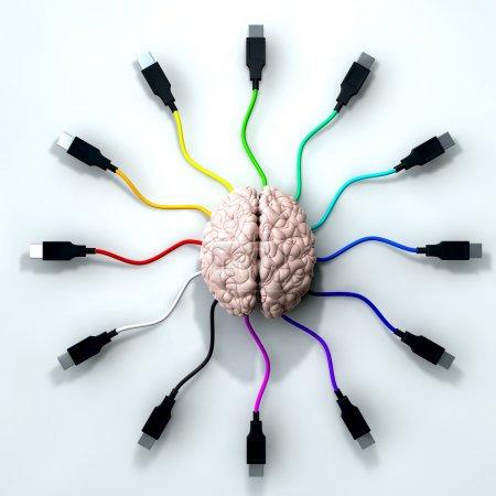 Photo pour Un cerveau humain avec câble usb multicolores qui s'étend et tendre la main de son centre - image libre de droit