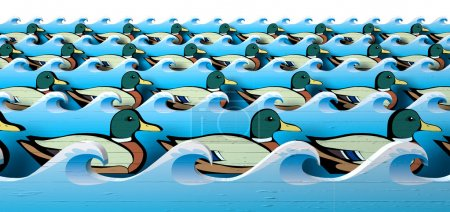 Photo for A literal depiction of carnival shooting alley wooden mallard ducks all in uniform rows in between blue wooden wave cutouts - Royalty Free Image