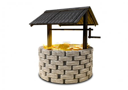 An old school brick wishing well with a wooden roo...