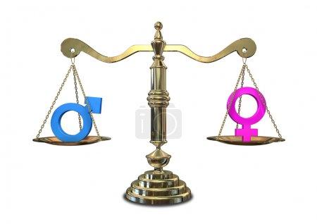 Photo pour Une échelle de justice en or avec les deux symboles de genre différents de chaque côté équilibrant l'un l'autre - image libre de droit