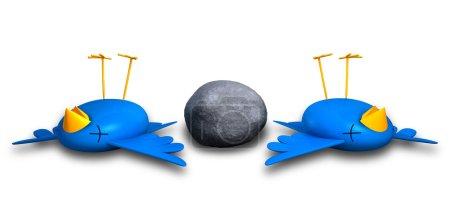 Foto de Dos pájaros estilo azul con naranjas picos aparentemente muertos y pique junto a una piedra gris de la historieta - Imagen libre de derechos
