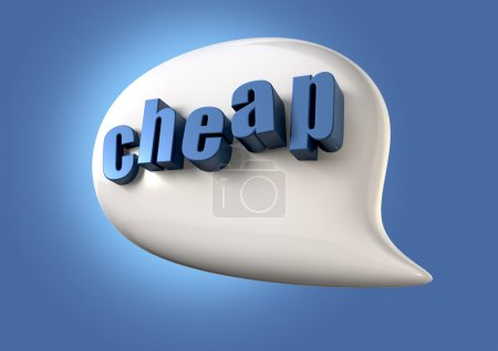 Photo for A white speech bubble with the extruded word cheap in blue on a blue backgound - Royalty Free Image