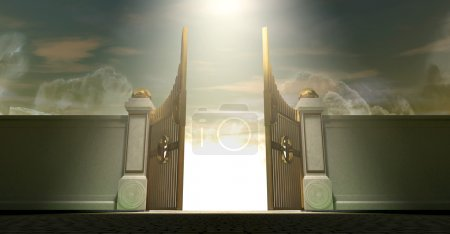 The gates to heaven opening under an ethereal ligh...
