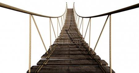 Photo pour Un pont de corde fait de planches de bois maintenues ensemble par une corde et fixées par des chevilles de bois sur un fond isolé - image libre de droit