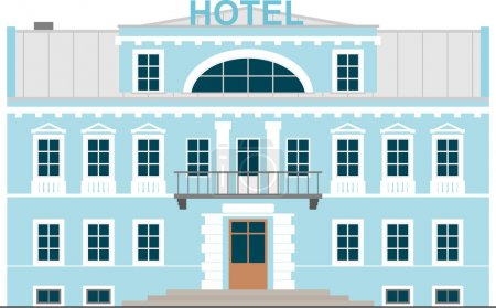 Illustration for Building with a small Hotel, isolated on white - Royalty Free Image